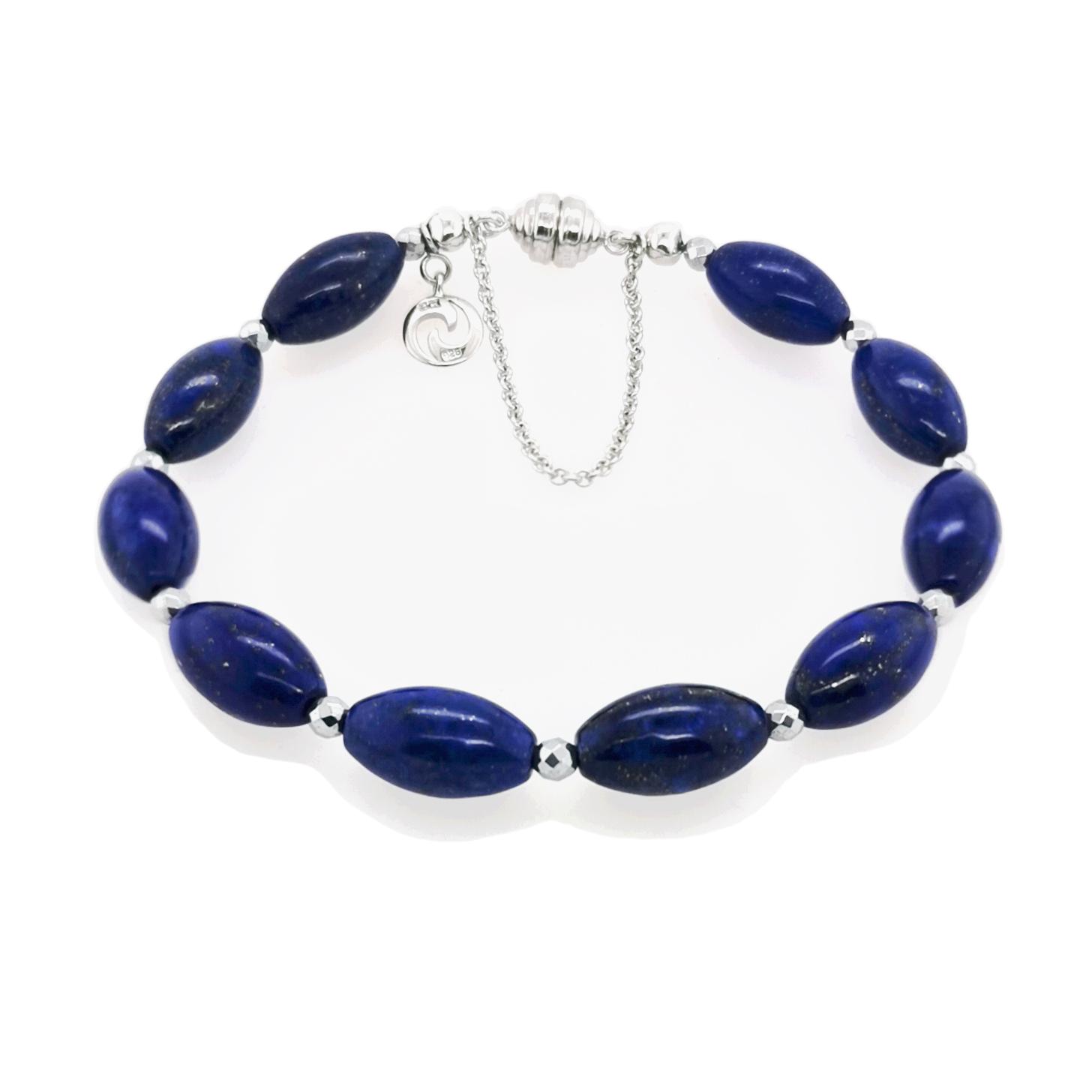 Lapis Lazuli & silvercoated Pyrit Edelstein Gesamtgewicht ca. 81 ct Armband mit Magnetschließe Carat 3000, 925 Sterling Silber rhodiniert