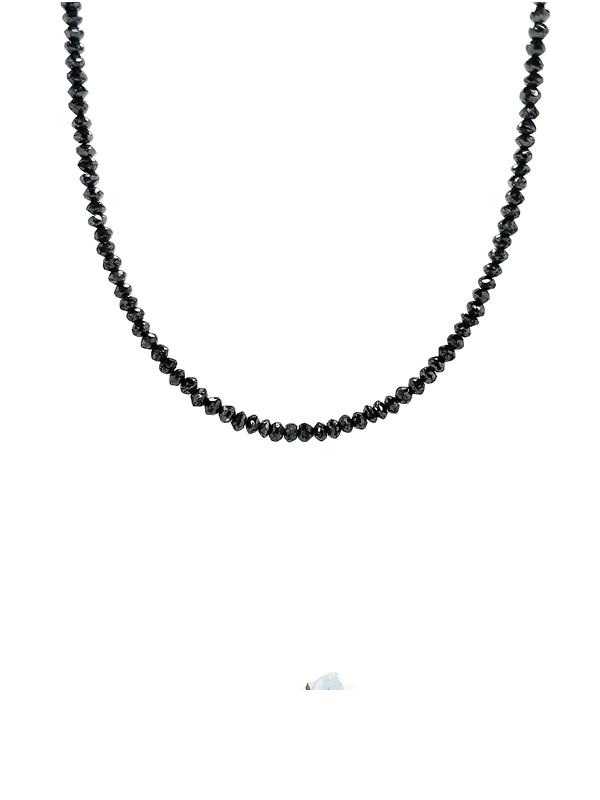 Collier mit schwarzen Diamantrondellen facettiert, ca. 25 ct