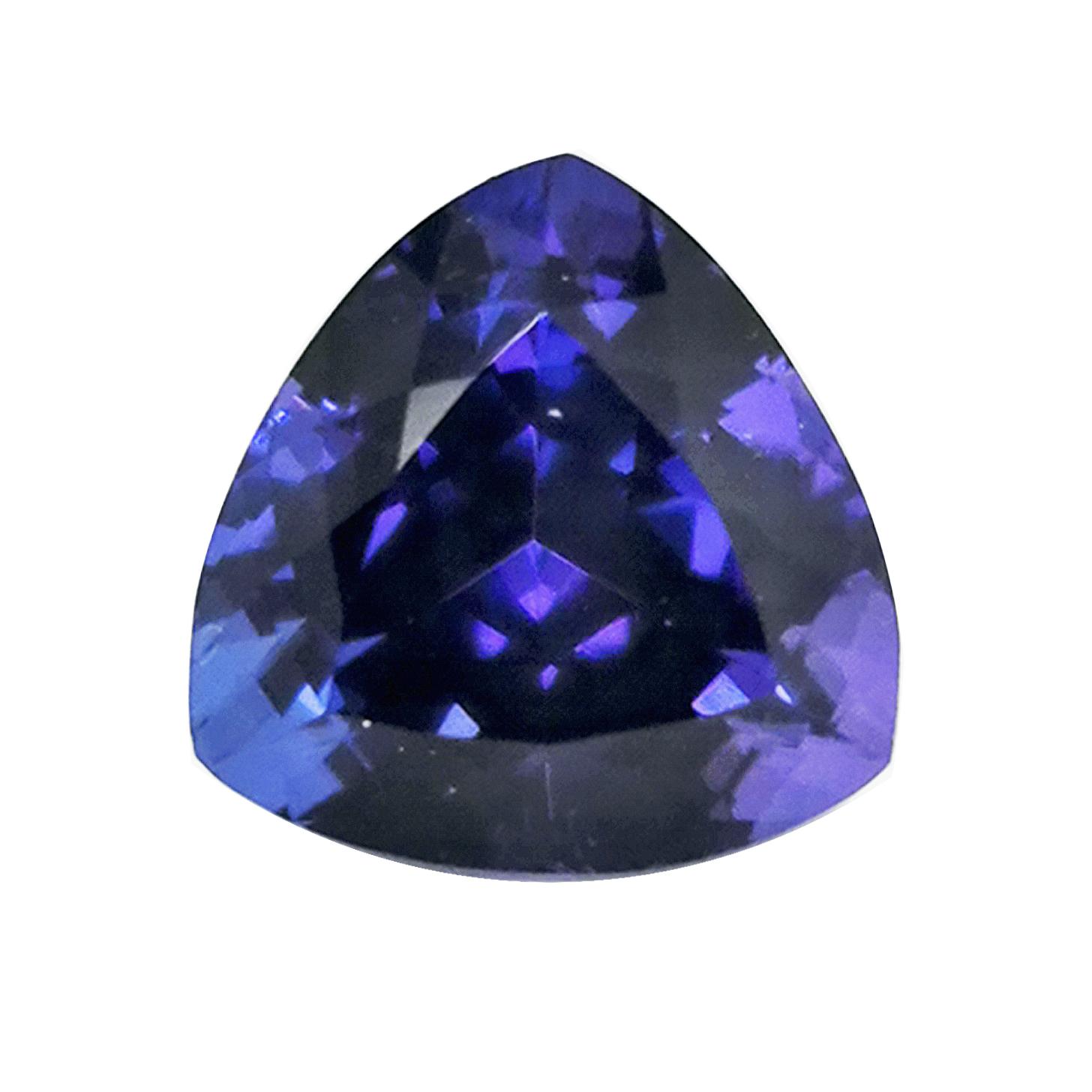Tansanit AAAA 13,32 ct gerundetes Dreieck Sammler Edelstein mit Expertise