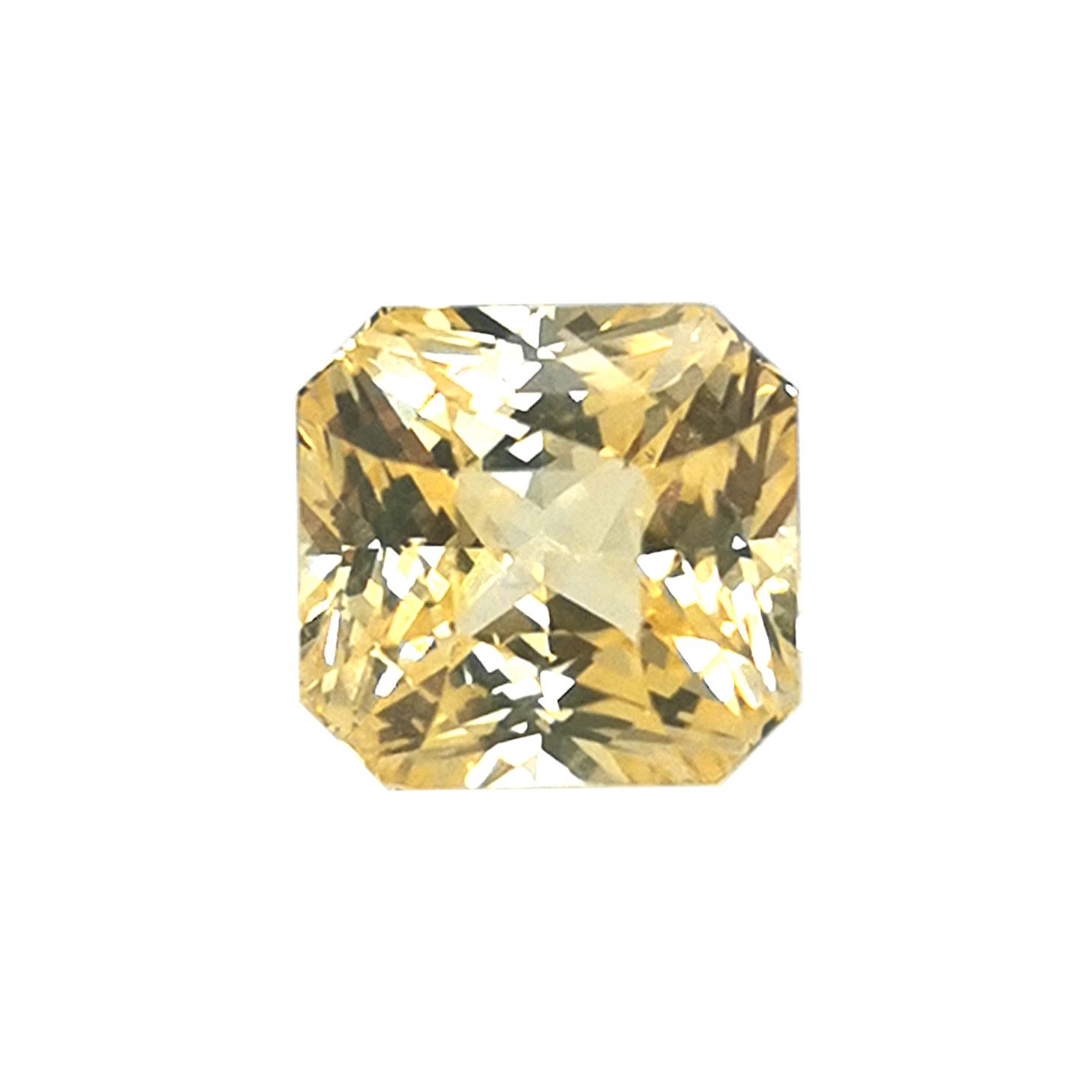 Gelber Saphir 6,56 ct Oktogonal / modifizierter Brillantschliff Sammler Edelstein mit Expertise
