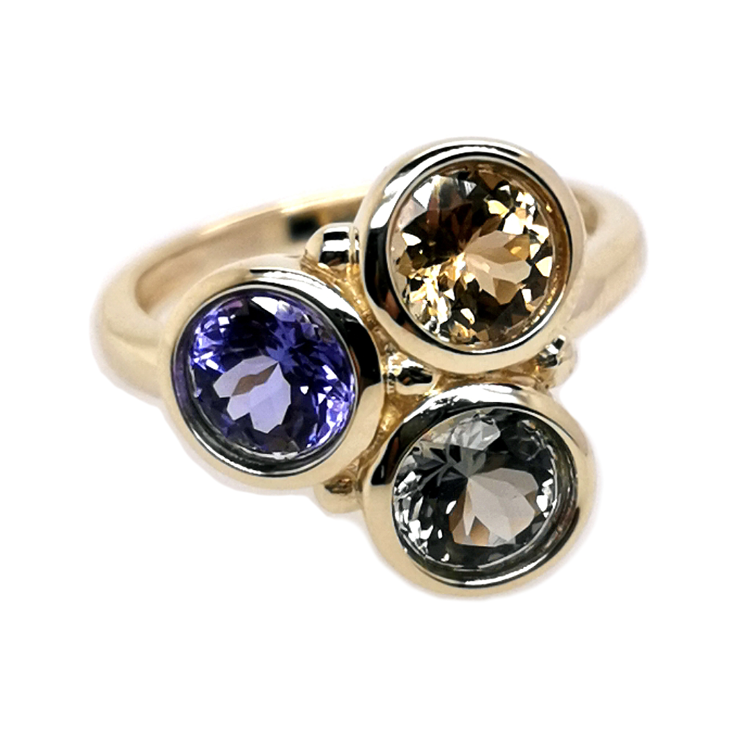 """""""Farben des Tansanit"""" Ring mit 3x Tansanit facettiert blau, golden, grün zus. ca. 3,3 ct Edelstein, 585 Gelbgold"""