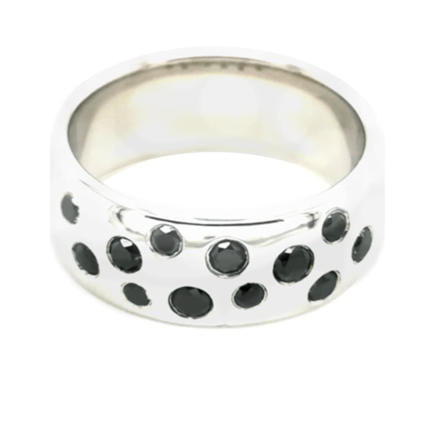 Diamant schwarz, beh. Vollschliff total ca. 0,411 ct Edelstein, Silber 925/000 Ring, Sogni d´oro
