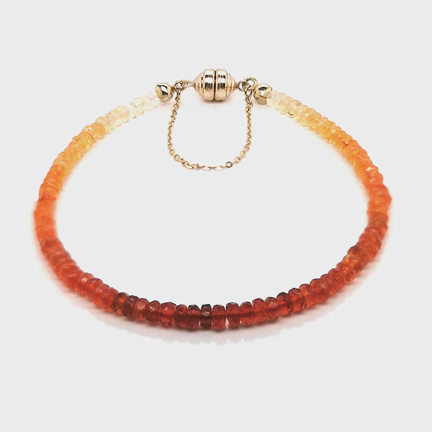 Feueropal facettiert, gesamt ca. 10 ct  Edelstein Armband mit Magnetschließe Carat 3000 375 Gelbgold, Sogni d´oro