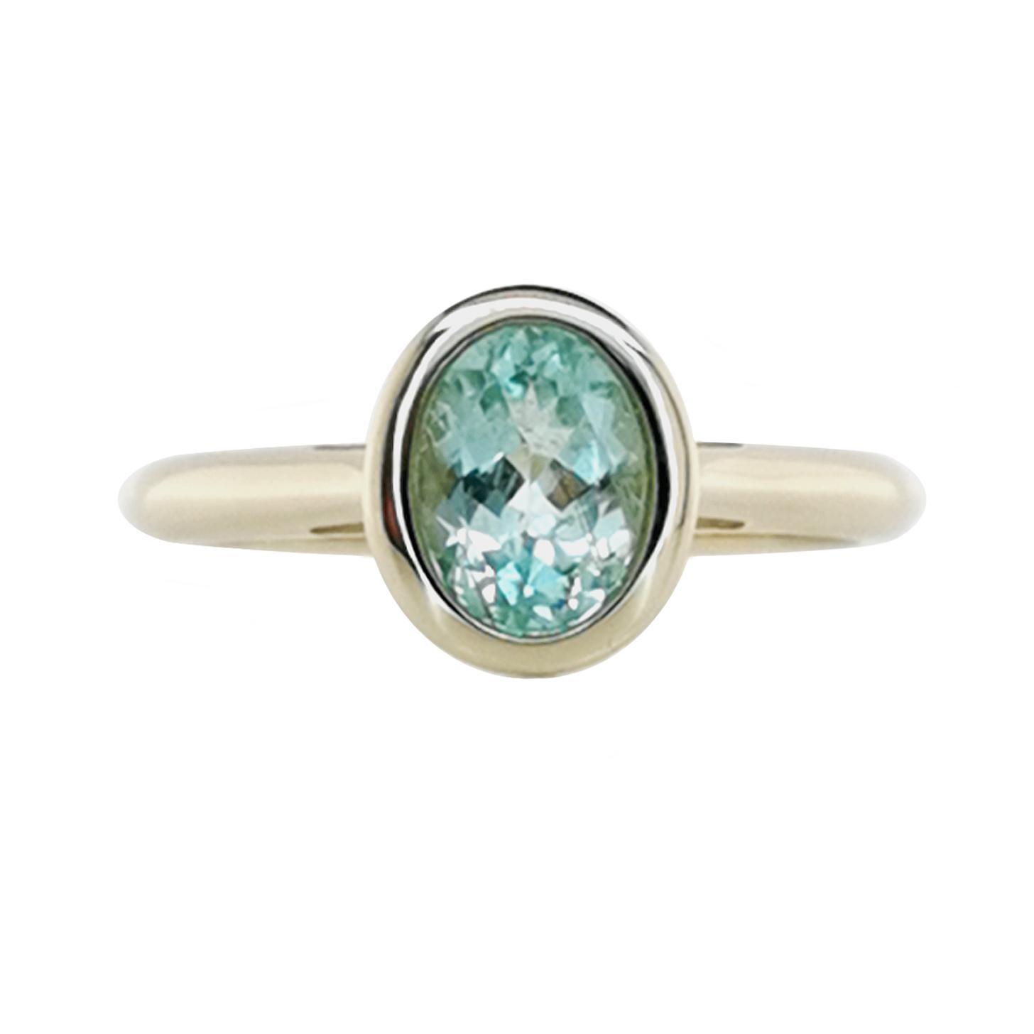 Ring mit Paraiba Turmalin, ca. 1,24ct, GG 585