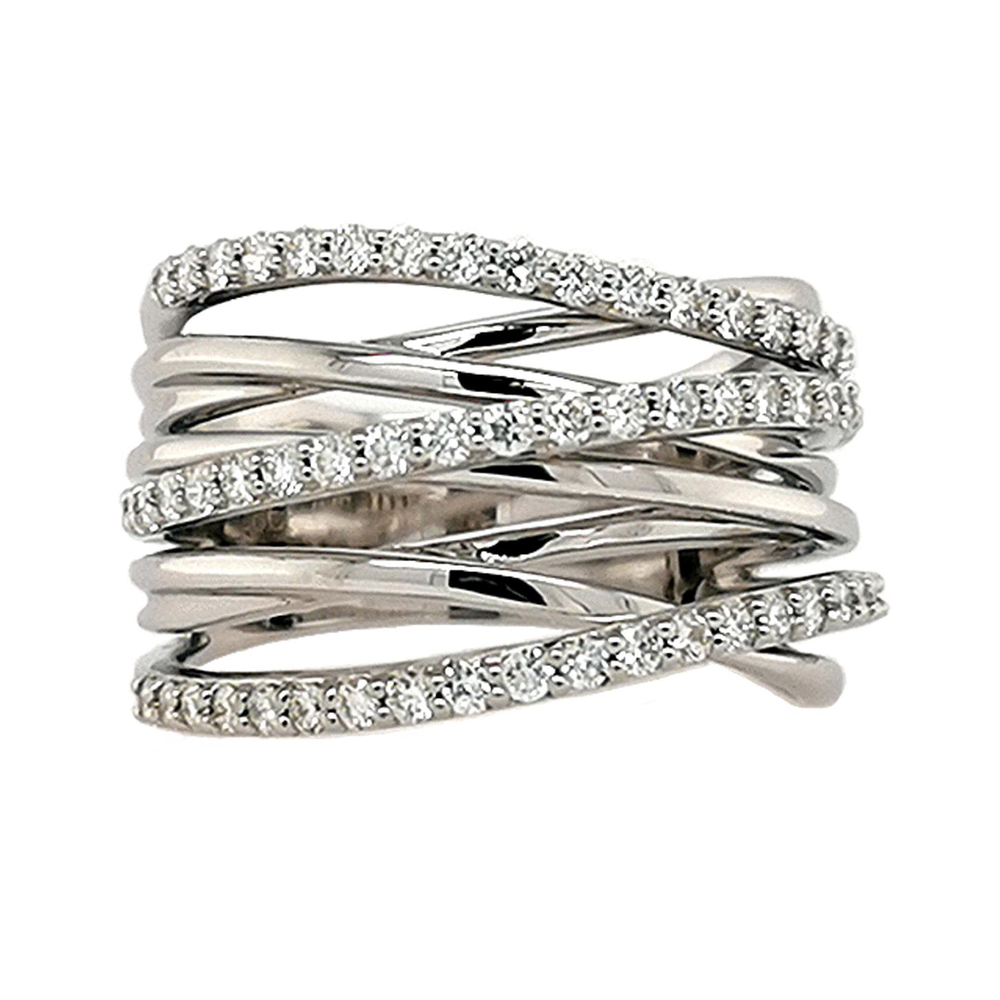 Brillantring aus 585 Weißgold mit 58 weißen Diamanten im Brillantschliff, total ca. 0,81 ct