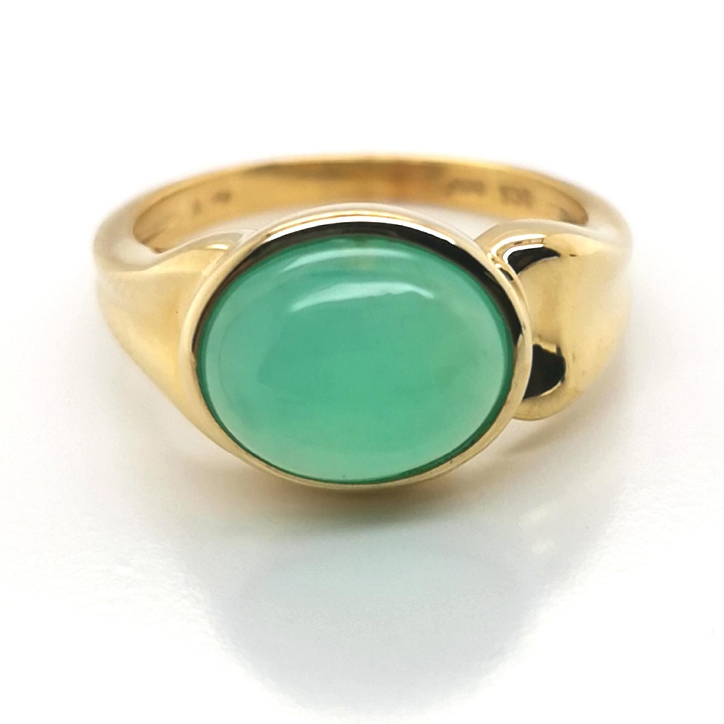 Peruanischer Opal, grün, ca. 3 ct Edelstein, 925/000 Silber vergoldet, Ring, Sogni d´oro