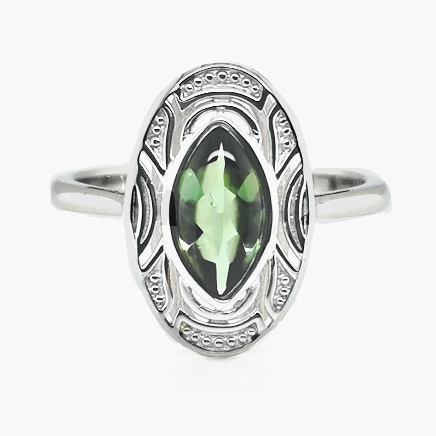 Turmalin, grün, bufftop ca. 1,05 ct. Kongo Edelstein Ring Weißgold 375 Sogni d´oro