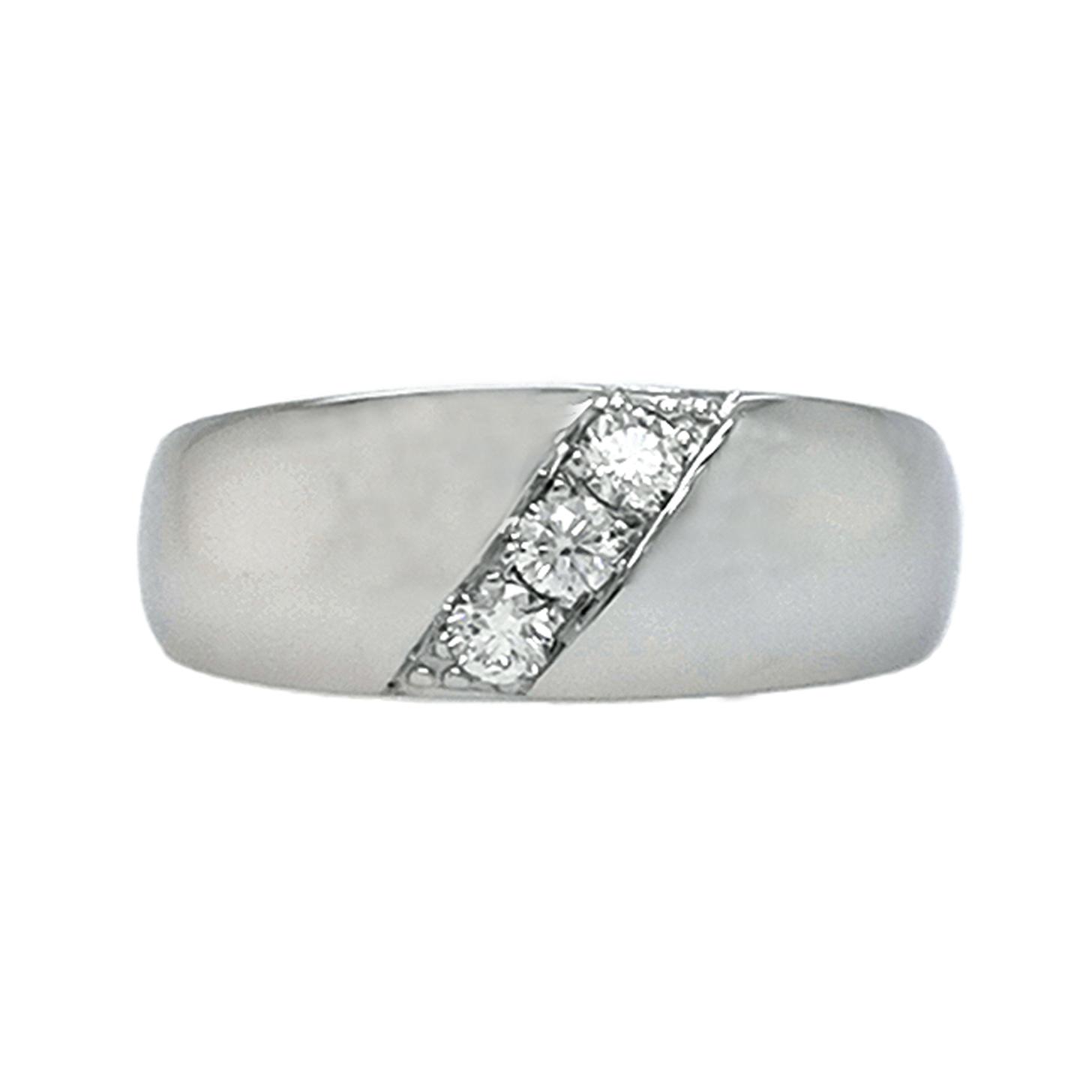 Brillantring aus 585 Weißgold mit 3 weißen Diamanten im Brillantschliff ca. 0,21 ct