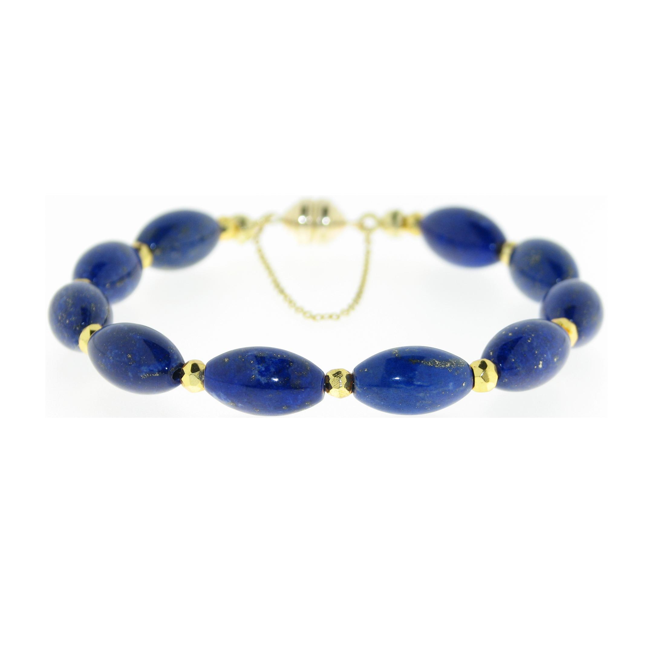 Armband mit glatten Lapis Lazuli Oliven und  goldcoated Pyrit Rondellen mit Magnetverschluss