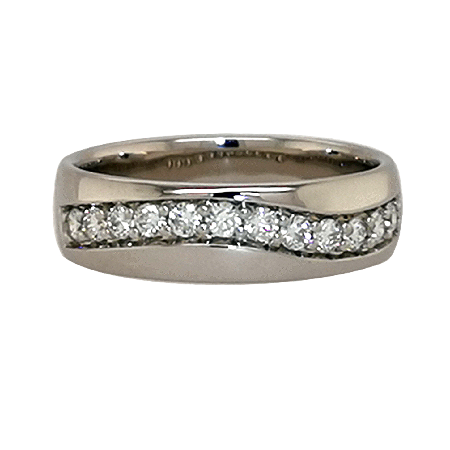 Brillantring aus 585 Weißgold mit 11 weißen Diamanten im Brillantschliff, Solitär ca. 0,25 ct, total ca. 0,6 ct