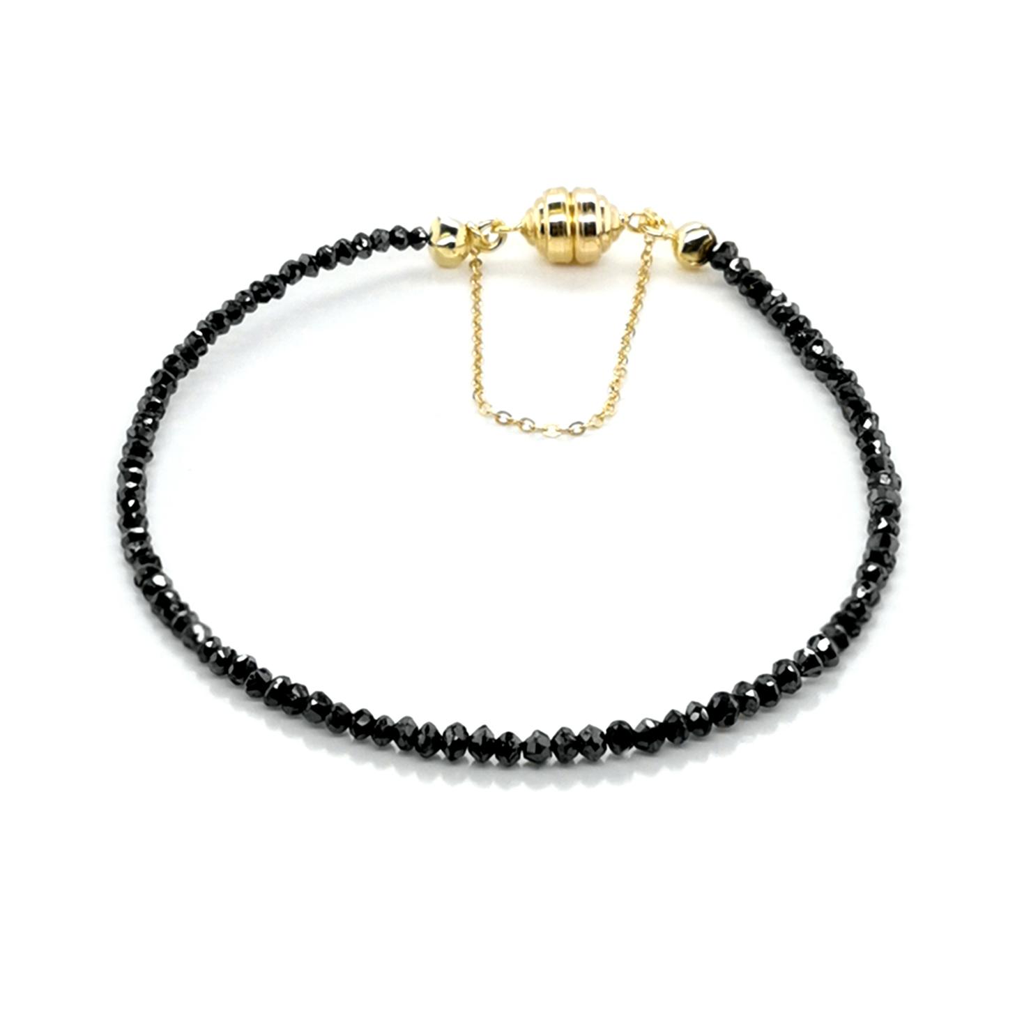 Armband mit Diamant schwarz beh., ca. 9 ct Edelstein echt, facettiert mit Magnetschließe Carat 3000 in 585 Gelbgold, Sogni d´oro Facettenreich