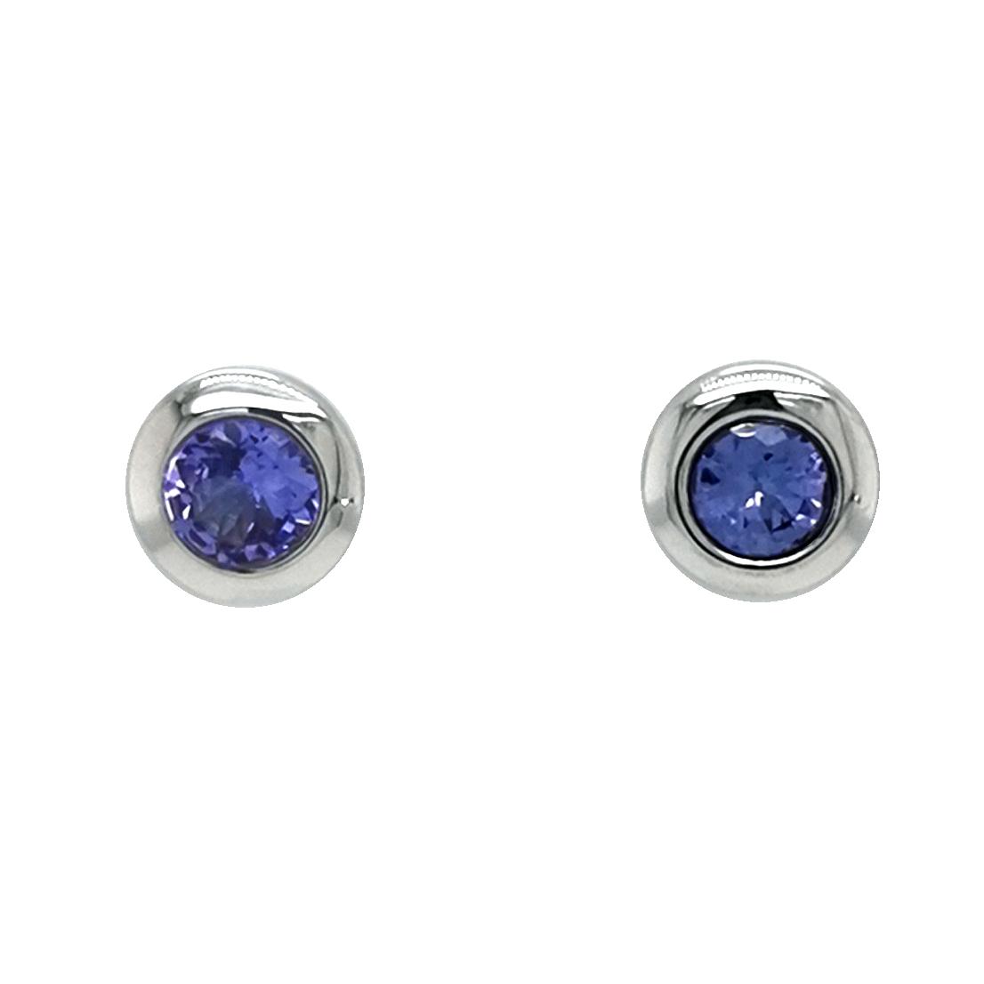 Ohrstecker aus 925 Sterling Silber mit blauem Tansanit Edelstein 4mm rund facettiert ca. 0,6ct total