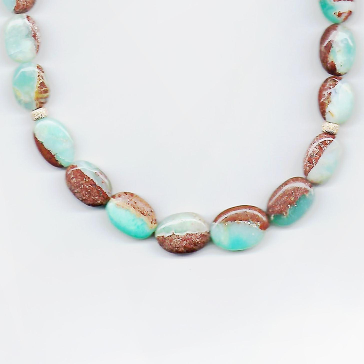 Collier mit Opal, grün-braun, glatt,  ca. 190 ct, ca. 45 cm, Edelstein echt, Karabinerverschluss, 585 Gelbgold Terra Opalis
