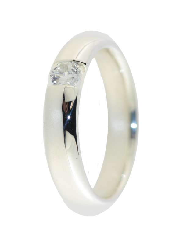 Ring mit Zirkon, 925 Silber, Spannringoptik