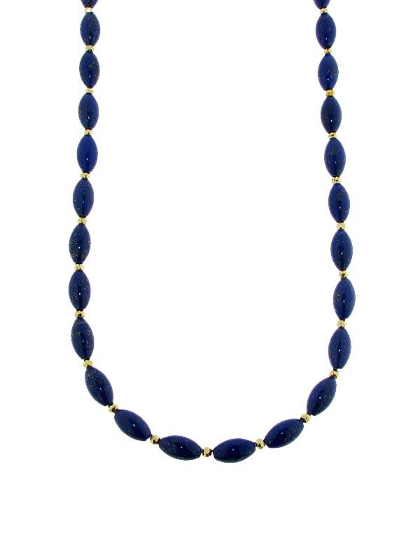 Collier mit glatten Lapis Lazuli Oliven und  goldcoated Pyrit Rondellen mit Goldkarabinerverschluss