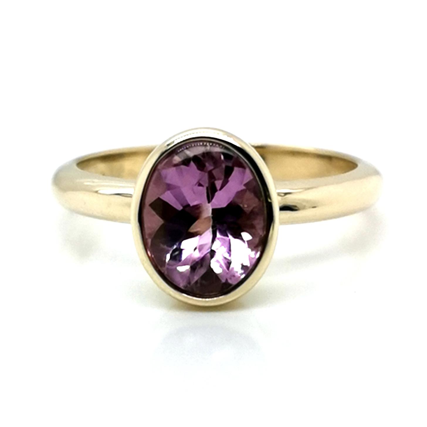 Ring mit Pink Turmalin, Bufftop, ca. 2 ct Edelstein, aus 375 Gelbgold, Sogni d´oro