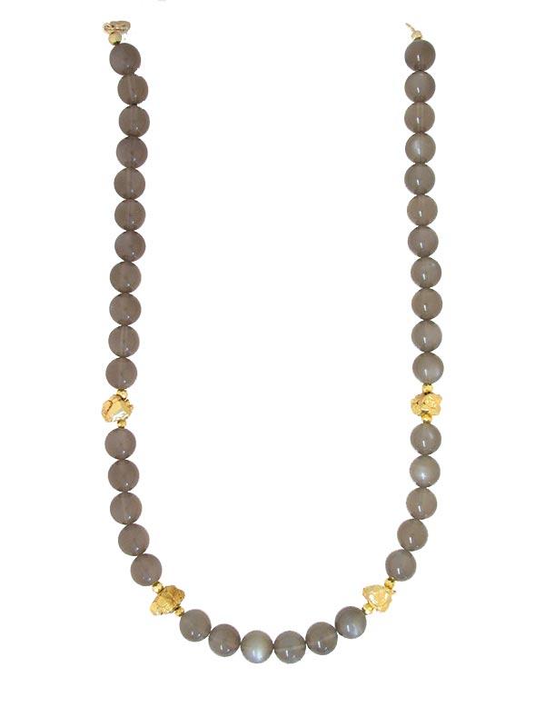 Collier mit Mondstein, anthrazit sowie Rondellen und Nuggets aus goldcoted Pyrit