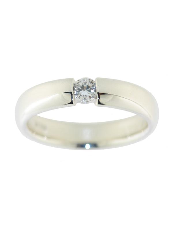 Ring mit Zirkon weiß rund ca. 4 mm Ø, ca. 0,4 ct Spannring-Optik