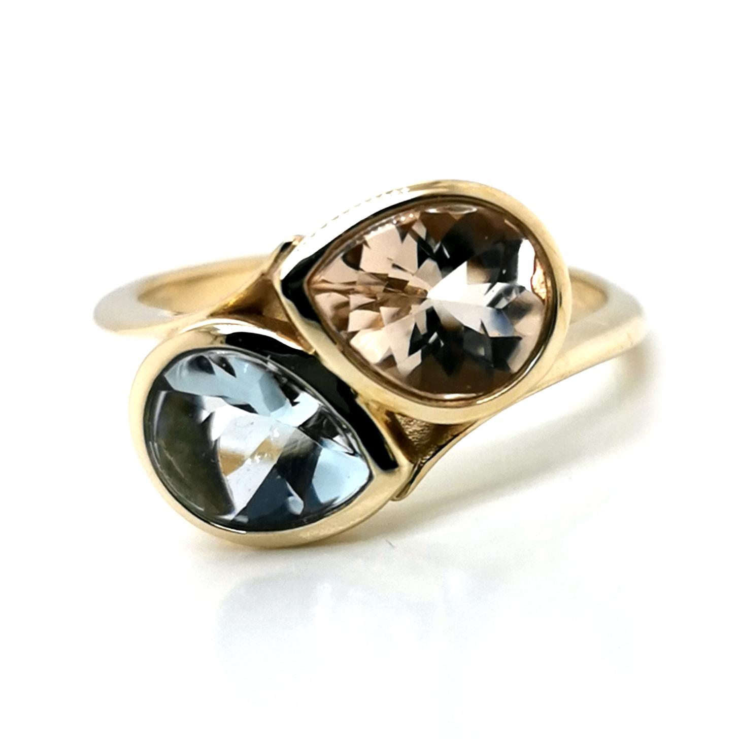Ring mit Morganit & Aquamarin, facettiert zus. ca. 3 ct Edelstein, aus 375 Gelbgold, Sogni d´oro Facettenreich