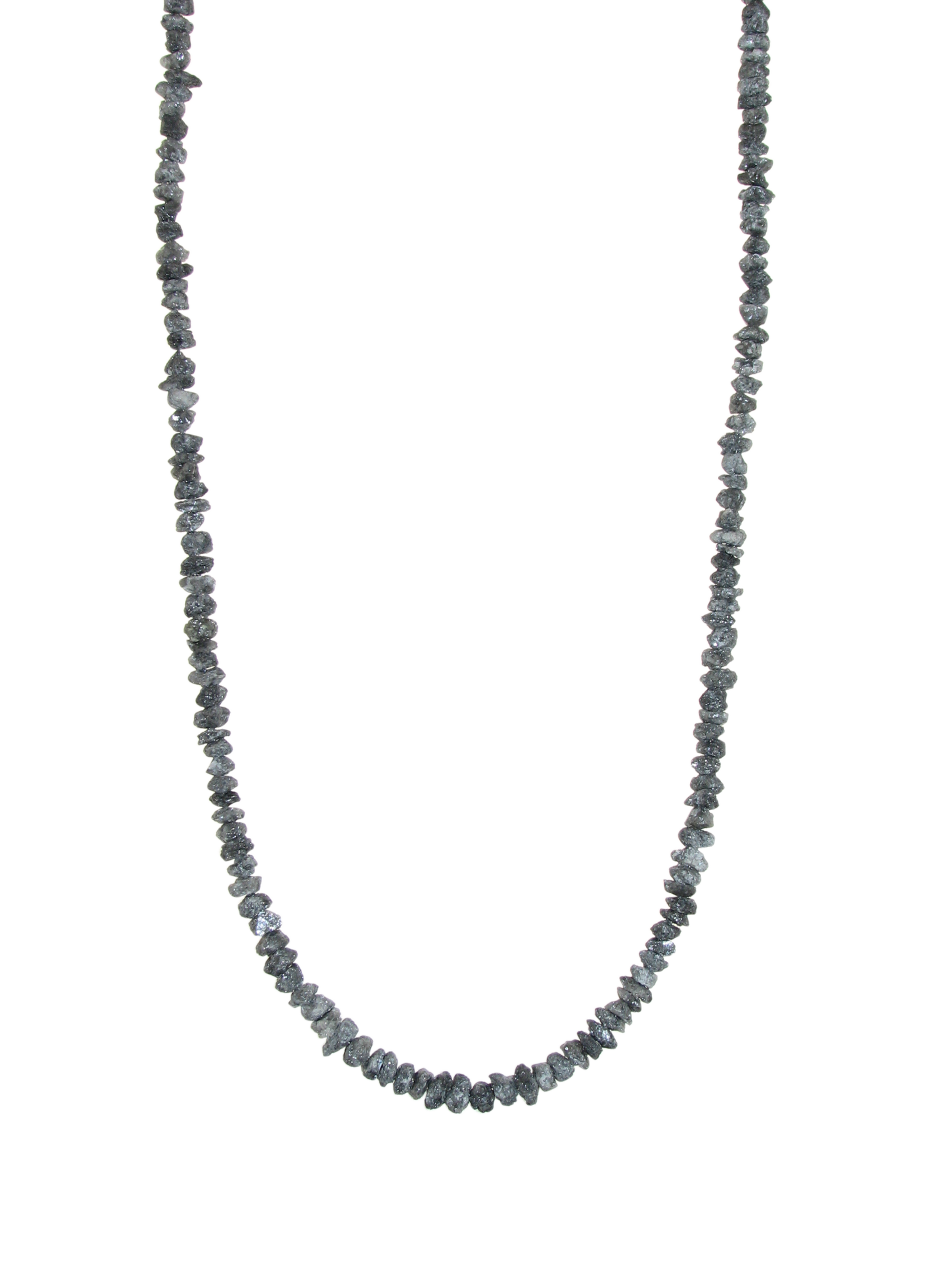 Collier mit Rohdiamanten, platingrau