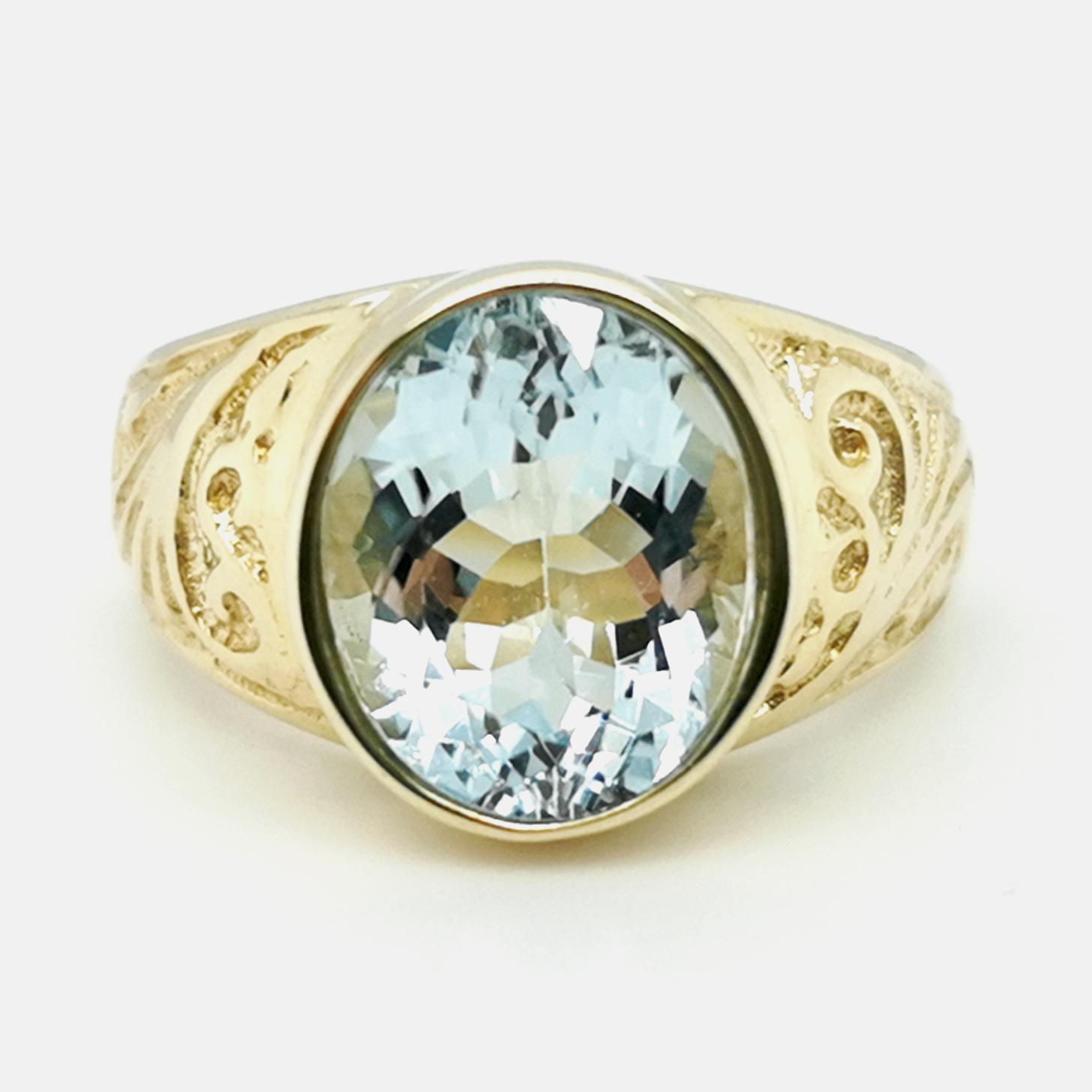 Aquamarin, Blau, Facettiert, ca. 3 ct Edelstein Ring Gelbgold 585/000 Sogni d´oro