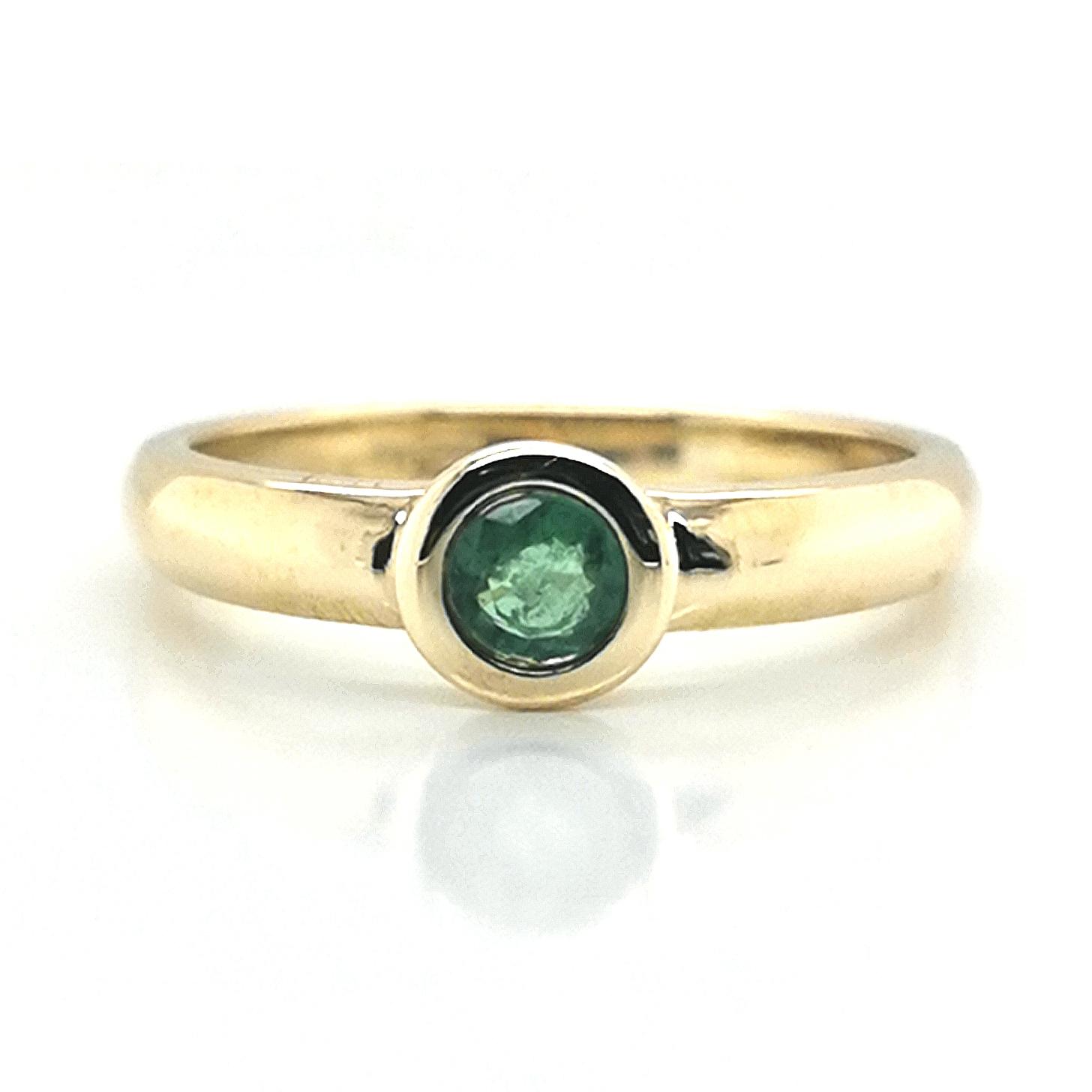 Smaragd grün ca. 0,25 ct Edelstein Gelbgold 375/000 hochglanzpoliert Ring Sogni d´oro
