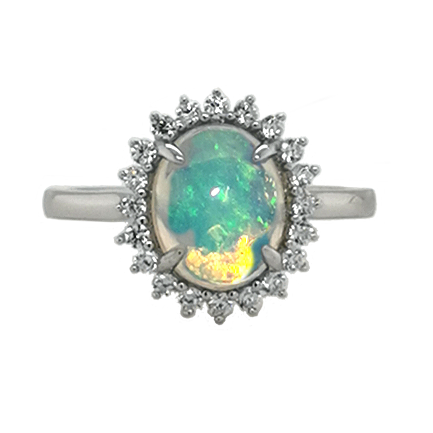 Ring mit afrikanischem Kristall-Opal Cabochon, 20x Besatz, Krappenfassung