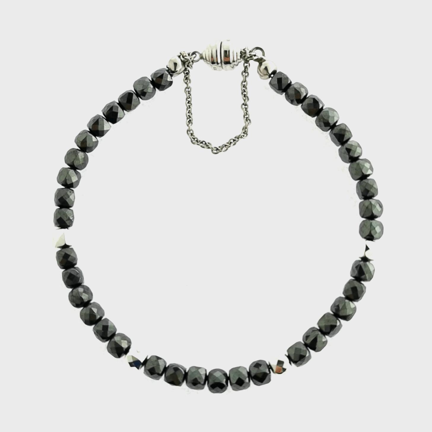 """Armband mit Hämatit & Hämatit silvercoated,  ca. 50 ct ca. 20 cm, Edelstein echt, Magnetverschluss """"Carat 3000"""", 925 Sterling Silber, rhodiniert, Silberzeit"""