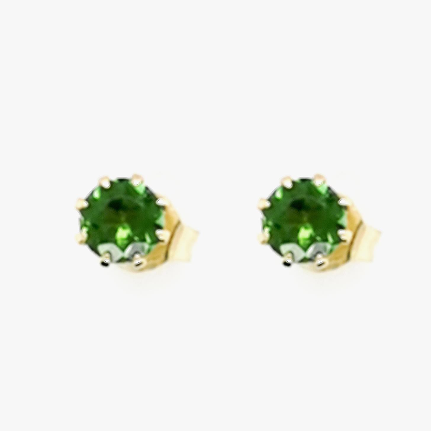 Brasilianischer Turmalin grün, gesamt ca. 0,6 ct Edelstein, Ohrstecker aus 375 Gelbgold, Sogni d´oro