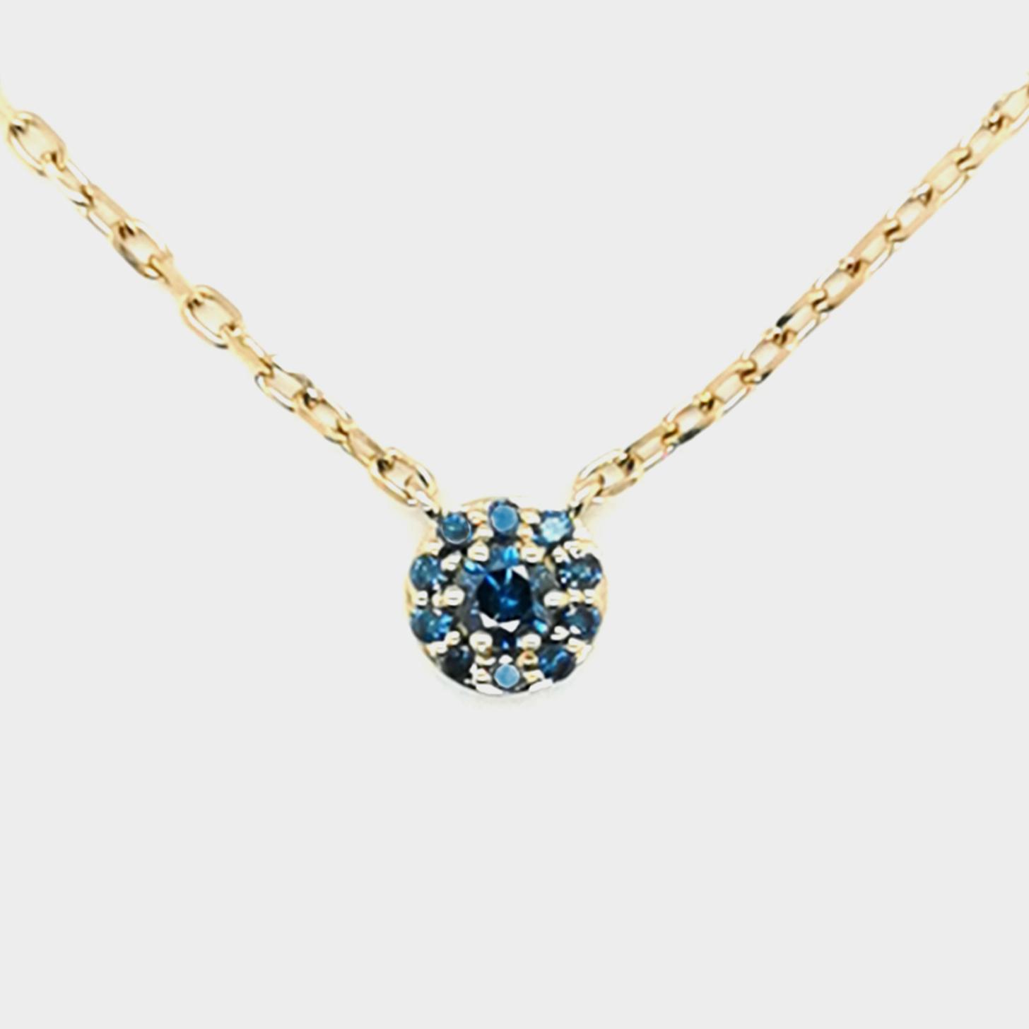 Brillant blau, beh gesamt ca. 0,215 ct Edelstein, Gelbgold 585/000 Collier mit Anhänger, Sogni d´oro