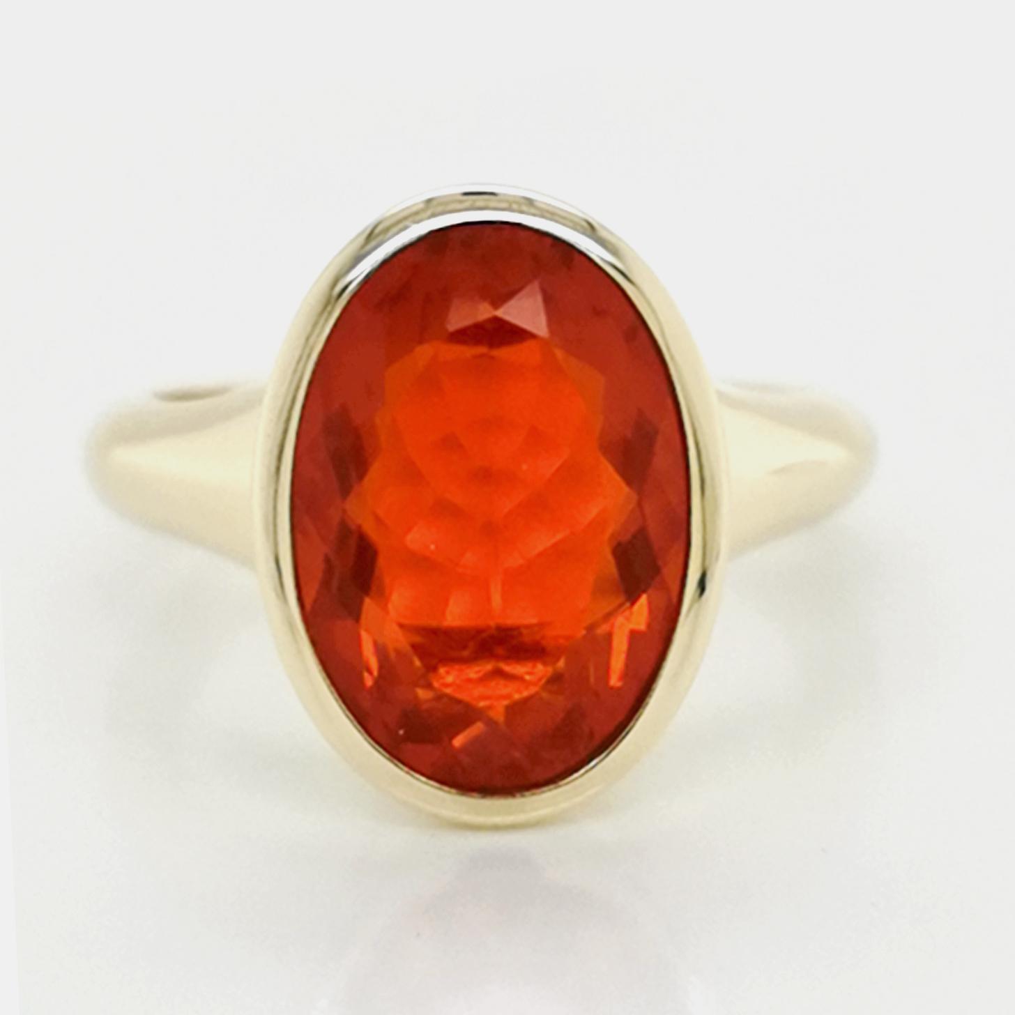 Cherryopal, rot, facettiert, ca. 2,6 ct Edelstein Ring Gelbgold 585/000 Sogni d´oro